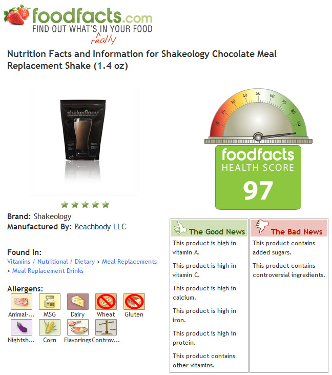 food facts - chocolate shakeology shake review