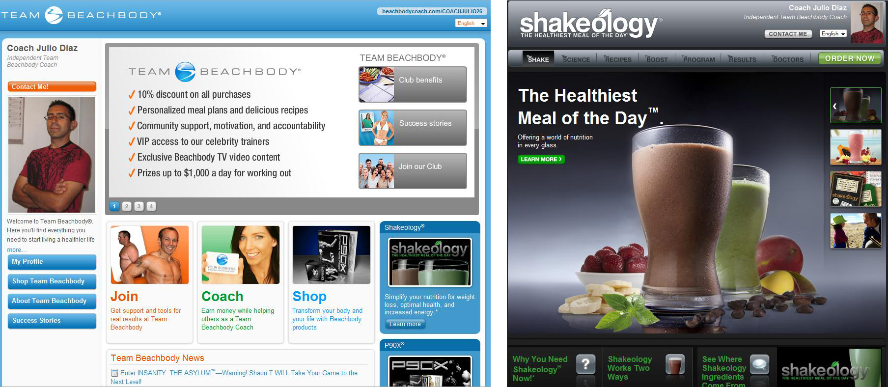 independent team beachbody coach julio diaz beachbody site main and shakeology