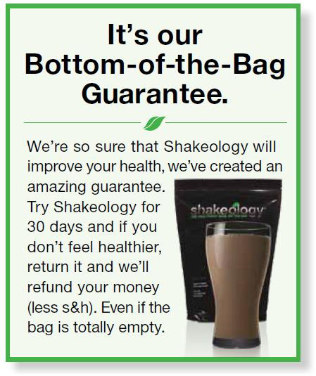 shakeology bottom of the bag guarantee