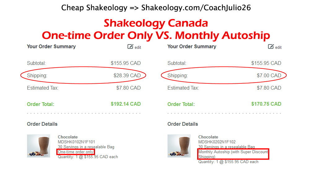 Shakeology Canada: One-time Order VS. Monthly Autoship