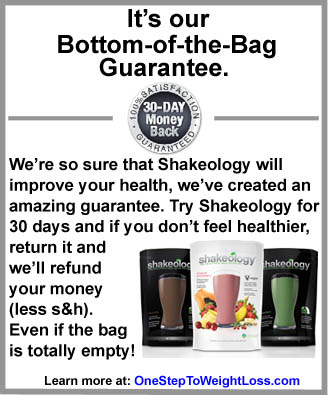 shakeology bottom of the bag guarantee: chocolate, greenberry, tropical strawberry