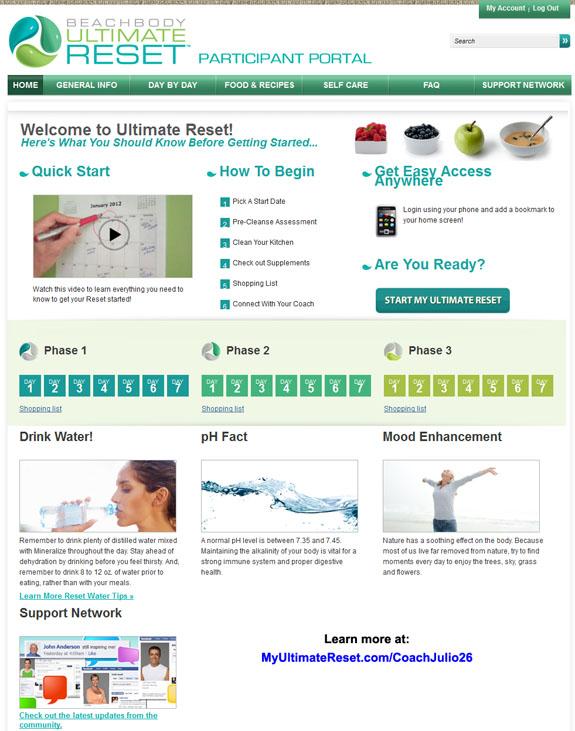 Online Ultimate Reset Participant Portal