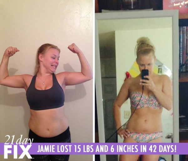 Jamie lost 15 pounds and 6 inches in 42 days with the 21 Day Fix!
