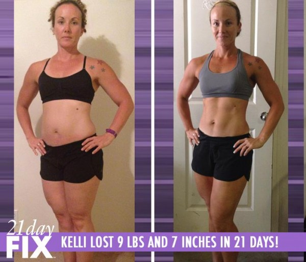Kelli lost 9 pounds and 7 inches in only 21 days with the 21 Day Fix workout program!
