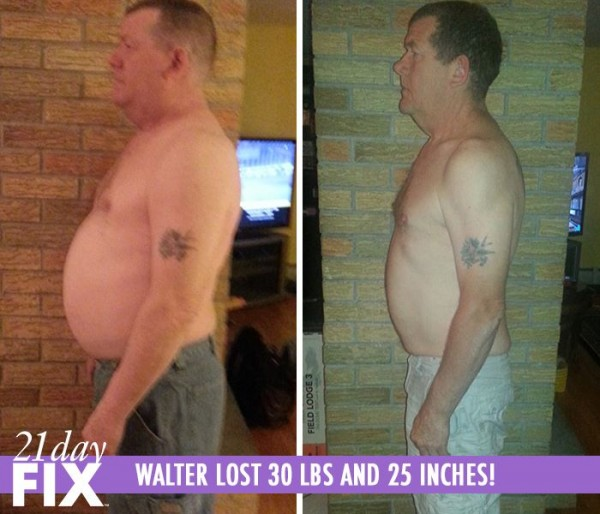 Walter lost 30 pounds and 25 inches after 3 rounds of the 21 Day Fix program!