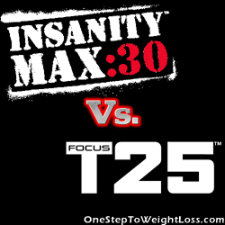 Compare the popular workouts, Insanity MAX 30 vs Focus T25!